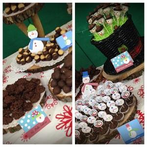 Buckeyes, Snowman Red Velvet Cake Pops, Brownie Bites and No Bake Oatmeal Cookies